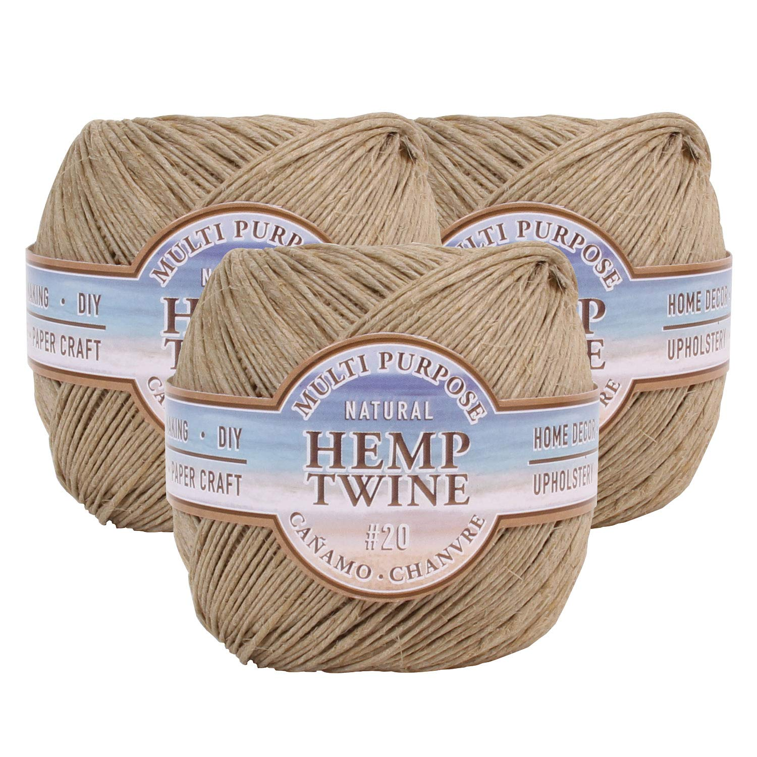 Hemptique Natural Hemp Twine #20 – Made with Love - Eco Friendly - Gardening - Macrame – Home Décor – Plant Hanger - Great for Jewelry Making, Crafts & More – #20~1mm (3 Pack)