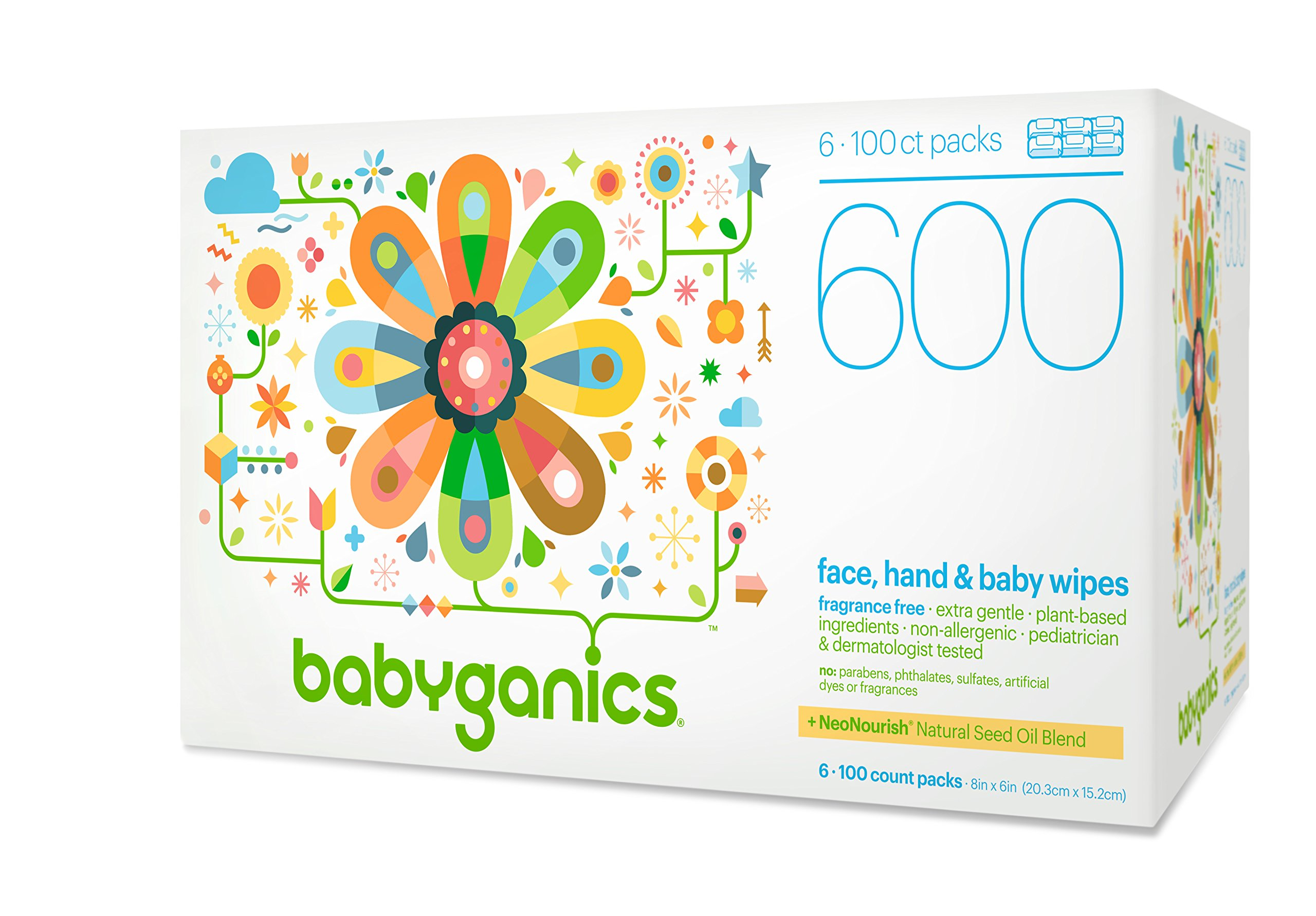 Babyganics Baby Wipes, Unscented, 600 Count (6 Packs of 100 Wipes), Packaging may vary