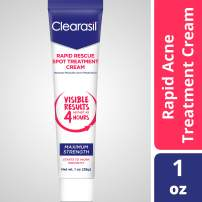 Clearasil Rapid Rescue Spot Treatment Cream, Maximum Strength-Medicated Benzoyl Peroxide Acne Treatment, Visible Results As Fast As 4 Hours, Keeps Treating Pimples After Use, 1 oz.