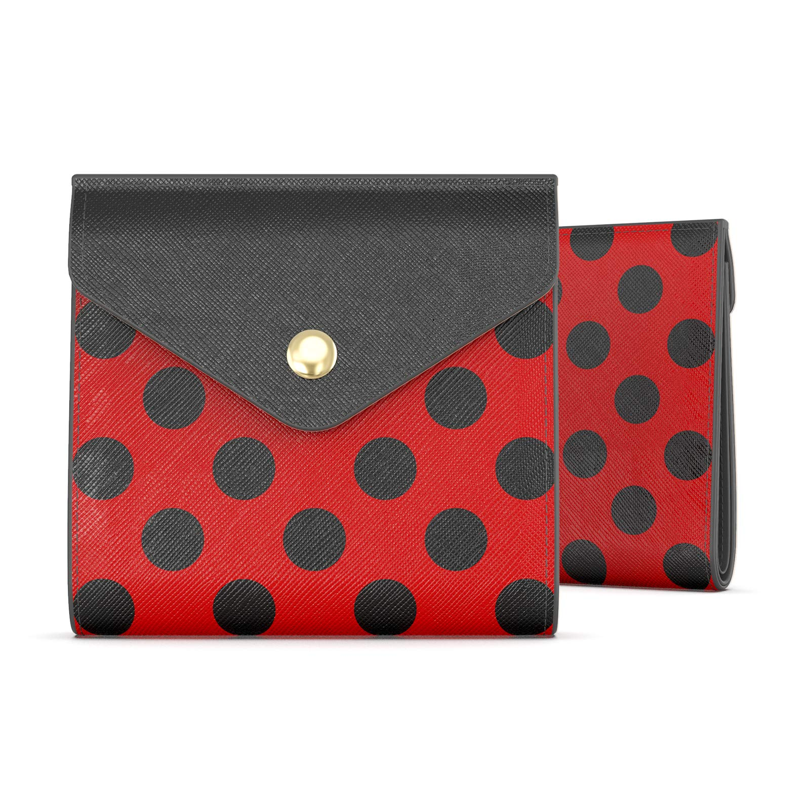 Rose Lake Women Wallet Bifold Pocket Change Purse RFID Blocking Pouch with Snaps Closure Gifts for Girls (Black Red Polka Dot)