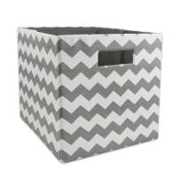 "DII Hard Sided Collapsible Fabric Storage Container for Nursery, Offices, & Home Organization, (11x11x11"") - Chevron Gray"