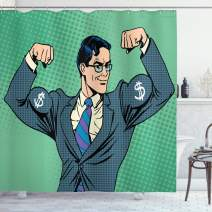 "Ambesonne Green Shower Curtain, Pop Art Retro Style Manly Businessman with Currency Dollar Money Print, Cloth Fabric Bathroom Decor Set with Hooks, 84"" Long Extra, Petrol Blue"