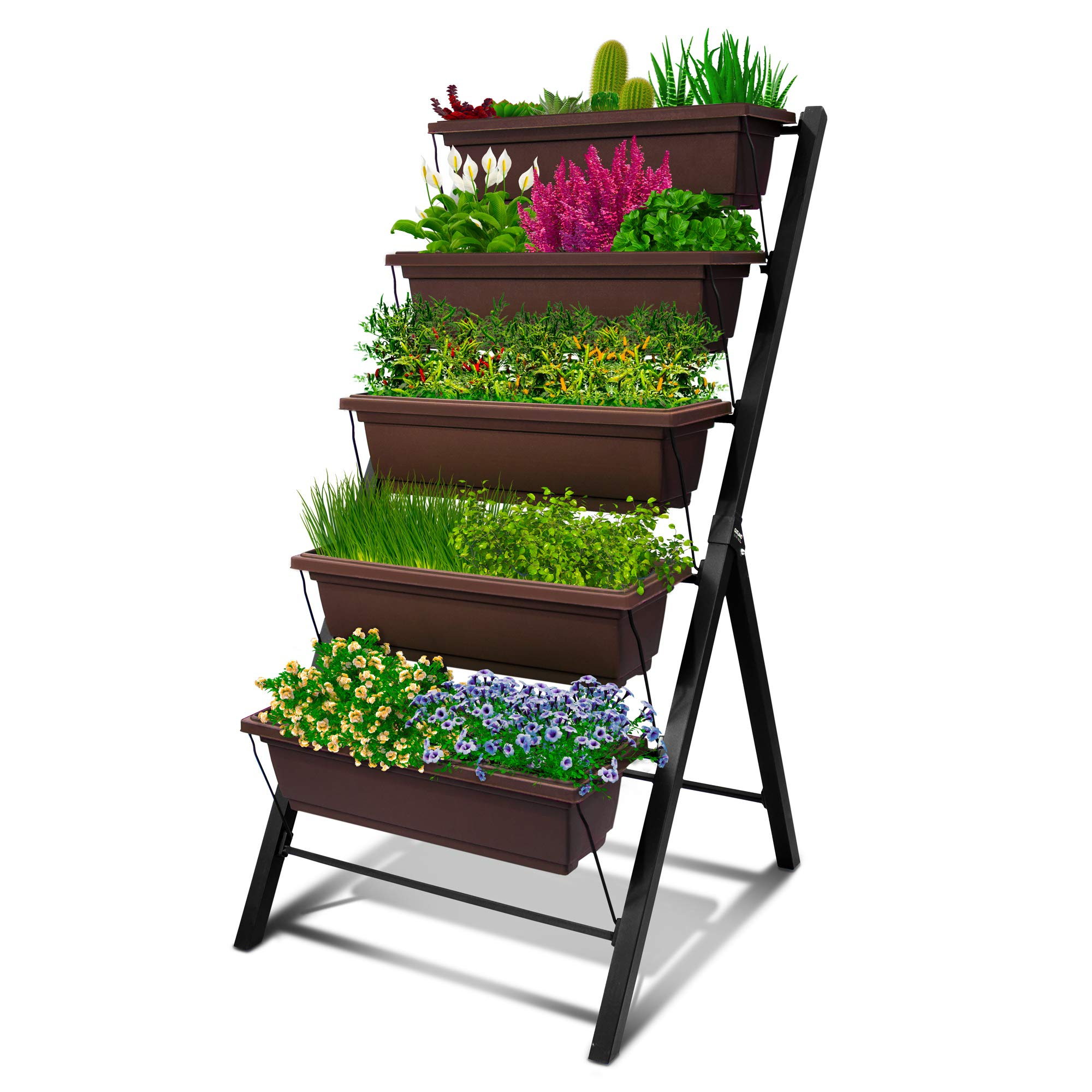 4ft Vertical Raised Garden Bed 5 Tier Food Safe Planter Box For Outdoor And Indoor Gardening Perfect To Grow Your Herb Vegetables Flowers On Your Patio Balcony Greenhouse Garden