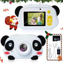 Joytrip Digital Kids Camera for Boys 12.0MP 1080P Video Resolution Mini Rechargeable Portable Camera for Ages 3-12 Child Kid Selfie Toy Cameras Camcorder (Panda 16G Memory Card)