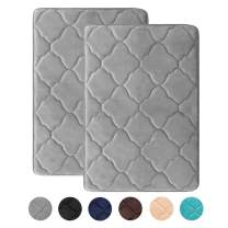 HAOCOO Memory Foam Bath Mat 2 Pack Set 20x31 inch Thick Non Slip Water Absorbent Bathroom Rugs Super Soft Velvet Machine Washable Dry Fast Bath Floor Rug for Shower Tub, Gray