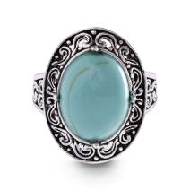 WILLOWBIRD Oxidized Sterling Silver Simulated Turquoise Oval Center Scrollwork Ring for Women (Various Sizes)