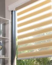 """CHICOLOGY Everyday Cordless Zebra Shades, Light Filtering Dual Layer Window Blind Treatment Best for Kids & Perfect for Living Room/Bedroom/Kitchen and More, 68"""" W X 72"""" H, Basic Pearl"""
