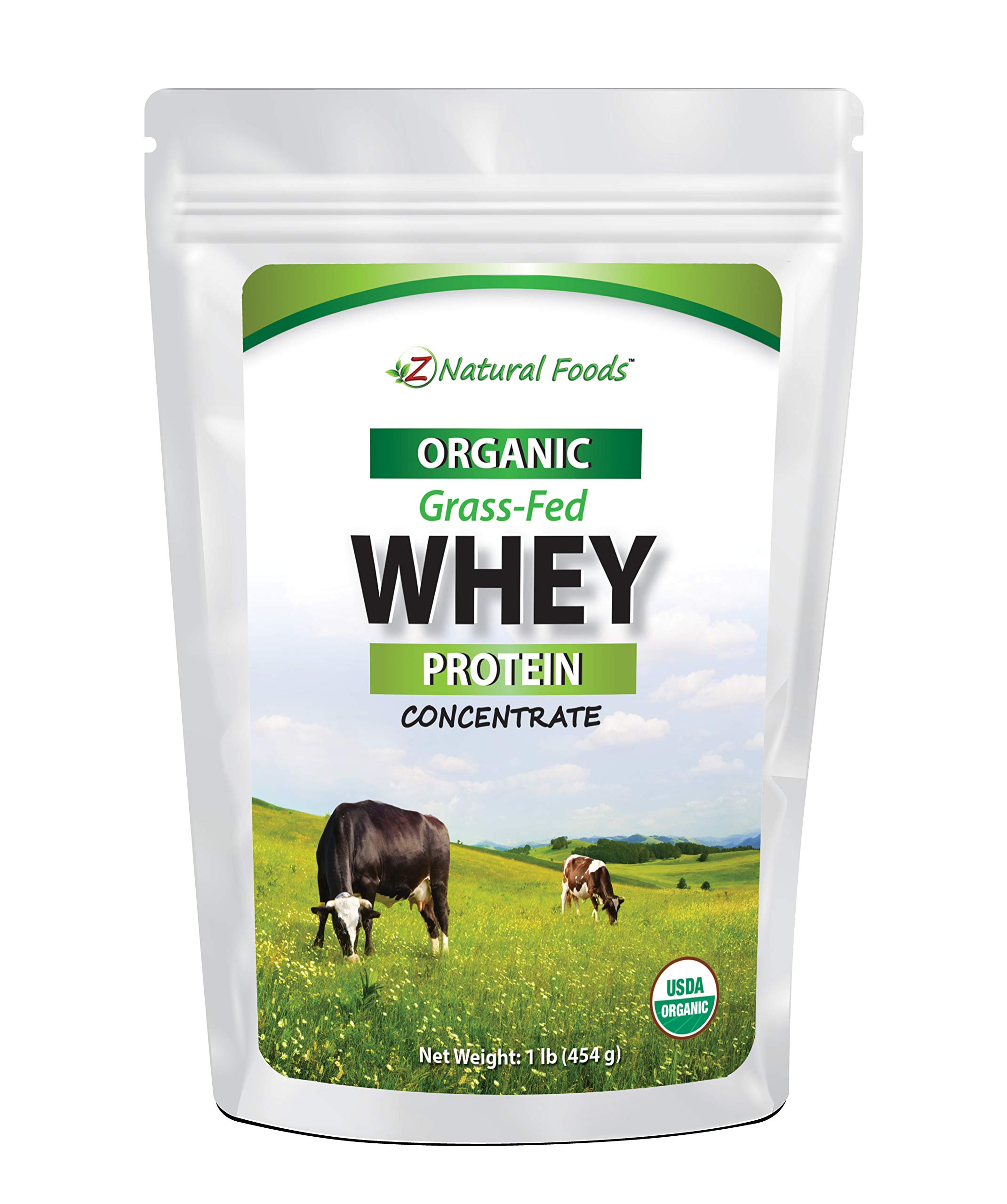 Organic Whey Protein Powder - 1 lb - Grass Fed, Unflavored, Hormone Free, Non GMO, Gluten Free, Kosher - All Natural Whey Concentrate - Perfect for Keto & Paleo Drinks, Shakes, Smoothies, & Recipes