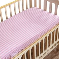 """NTBAY Toddler Fitted Crib Sheet 100% Organic Cotton with Striped Design, Soft and Cozy, Pink, 28""""x 52""""+10"""""""