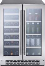 Zephyr PRWB24C32BG 24 Inch 5.18 cu. ft. Capacity Freestanding or Built In Full Size Beverage Center with French Door, in Stainless Steel
