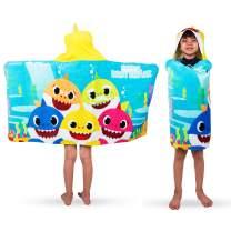 "Franco Kids Bath and Beach Soft Cotton Terry Hooded Towel Wrap, 24"" x 50"", Baby Shark"