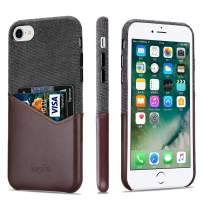 Lopie [Sea Island Cotton Series] Slim Card Case Compatible for iPhone 7 Plus and iPhone 8 Plus, Fabric Protection Cover with Leather Card Holder Slot Design, Coffee