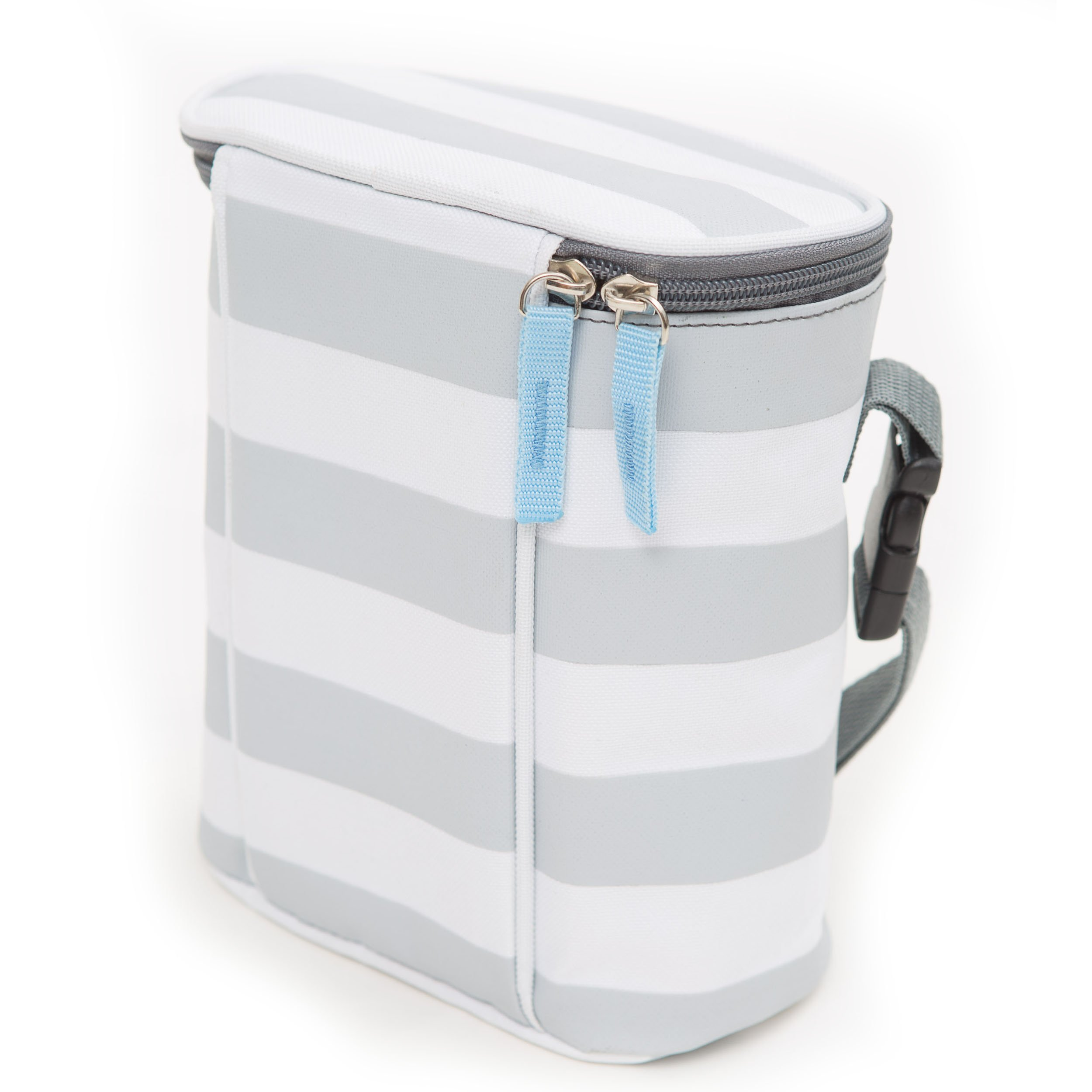 Bula Baby Bottle Cooler Bag for Breast Milk - Insulated Tote Bag Keep 2 Bottles Warm or Cool - Grey Stripe Ideal Gift