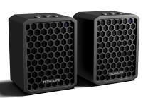 Tech-Life Twins- Mountable Stereo Travel Bluetooth Speakers. 2-Pack. 100% Wireless, 20 watts, 14hr Battery, Splashproof, w/Speakerphone - Black