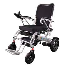 Elite Wheelchair Foldable Electric Power Wheelchair, Heavy Duty, Indoors/Outdoors, Wide Seat, Fits Any Car Trunk, Safe for Air Travel, Cover Bag, Cup Holder and 2 Batteries Included, W5521 (Silver)