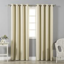 """Best Home Fashion Premium Thermal Insulated Blackout Curtains - Antique Bronze Grommet Top - Beige - 52"""" W x 120"""" L - Tie Backs Included (Set of 2 Panels)"""