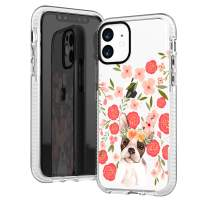 iPhone 11 Clear Case,Trendy Funny Puppy Dog French Bulldog with Pink Flowers Floral Daisy Roses Blooms Girls Women Cute Lovely Adorable Soft Protective Clear Case with Design Compatible for iPhone 11