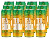 Teatulia Organic Black Tea Soda - 12 Pack - Black Tea, Pineapple, Peach, Lime, Cucumber