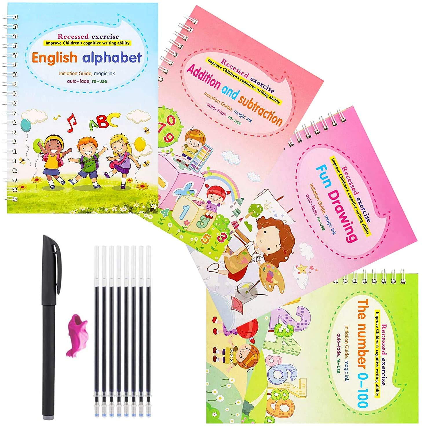 4pcs Magic Practice Copybook for Kids, Magic Calligraphy That Can Be Reused Handwriting Copybook Tracing Book Set for Kid Calligraphic Letter Writing Drawing Mathematics (Alphabet Book with Pen)