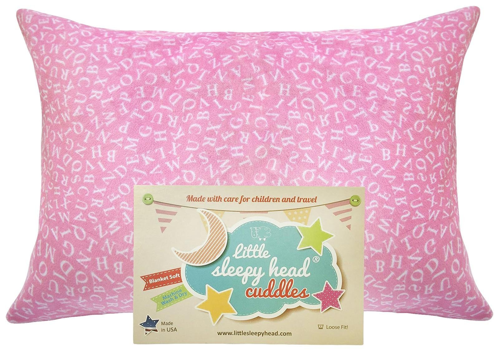 Little Sleepy Head Toddler Pillowcase - Cuddle Collection (alphabet Pink), 13 x 18 Inch