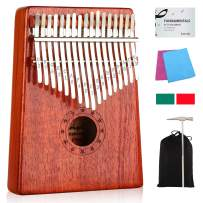 Kalimba 17 Keys Thumb Piano with Study Instruction and Tune Hammer, Portable Wood Finger Piano, Gift for Kids Adult Beginners Professional
