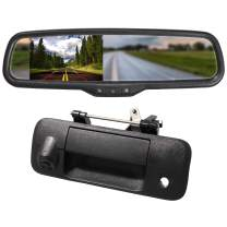 """EWAY for Toyota Tundra 2007-2014 4.3"""" Rear View Mirror Monitor with Tailgate Handle Backup Camera Kit Parking Waterproof CCD Reverse Reversing Night Vision Car Safety Backing Auto Cameras"""