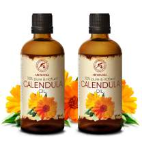 Calendula Oil 6.8oz (2 x 3.4oz) 200ml - Calendula Officinalis Flower Extract – Infused - Almond Oil Base - 100% Pure & Natural - Marigold Oil – Benefits for Skin, Nails, Hair, Face, Body