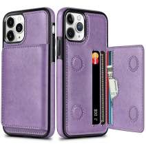 HianDier Wallet Case for iPhone 11 Pro Case with Card Holder PU Leather Kickstand Card Slots Cover Protective Magnetic Closure Shockproof Flip Back Case for iPhone 11 Pro 5.8-inch, Purple