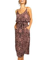 Relipop Women's Dresses Leopard Print Spaghetti Strap High Waisted Tie Knot Side Slit Maxi Long Dress