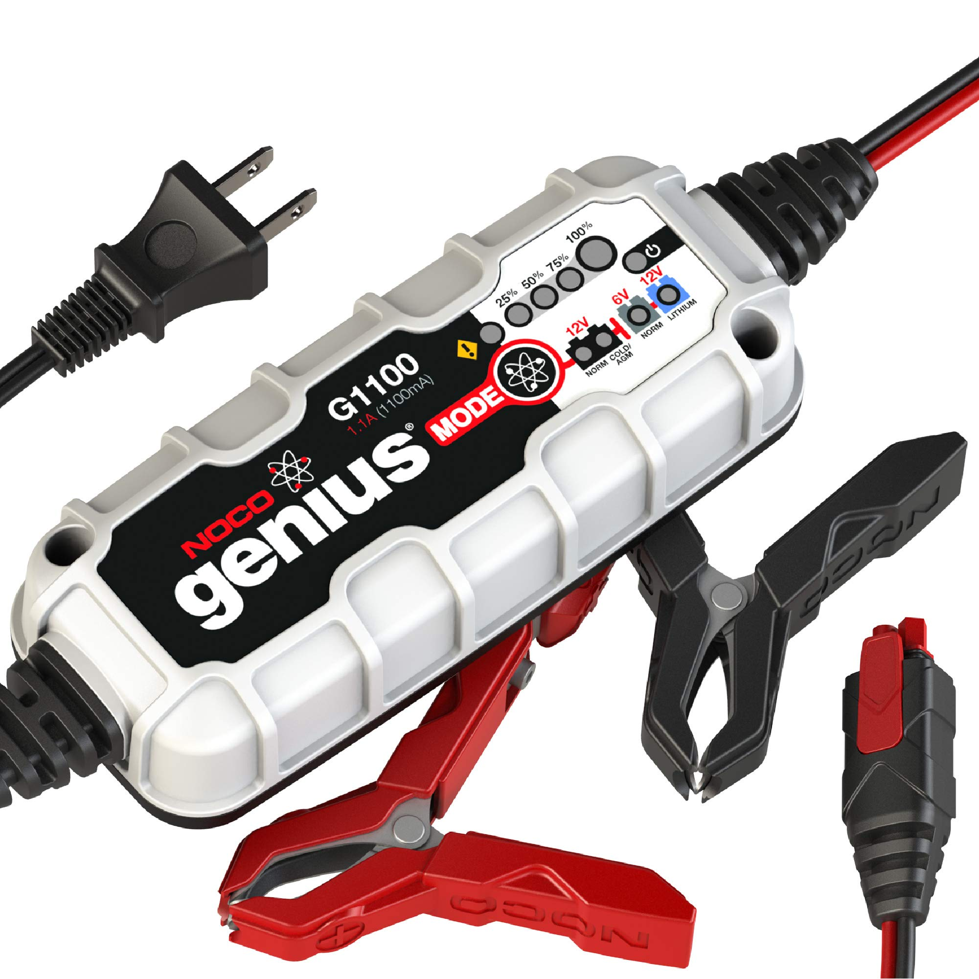 NOCO Genius G1100 6V/12V 1.1 Amp Battery Charger and Maintainer,Gray