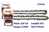 "16 Inch Chainsaw 3/8"" LP Pitch 0.050'' Gauge Semi Chisel Sawchain 57 Drive Links Fits Husqvarna Poulan 1950 2050 2155 2055 2175 2250 (2 PACK)"