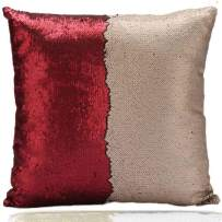 Fivbop Funny Two-Color Decorative Pillow Case Square Paillette Throw Mermaid Sequins Cushion Covers 16 X 16 for Home Decor Party/Sofa/Bed (Red+Gold)