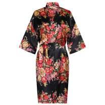 Women's Floral Silk Kimono Robes Sleepwear for Bride Bridesmaid Wedding Party