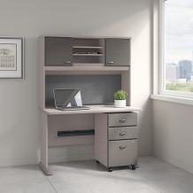 Bush Business Furniture Series A 48W Desk with Hutch and Mobile File Cabinet in Pewter and White Spectrum