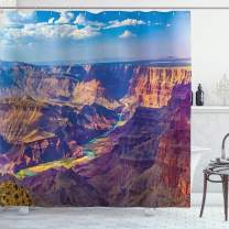 """Ambesonne Canyon Shower Curtain, Aerial View of Epic Grand Canyon Activity of River Stream Over Rock Plateau Print, Cloth Fabric Bathroom Decor Set with Hooks, 75"""" Long, Blue Tan"""