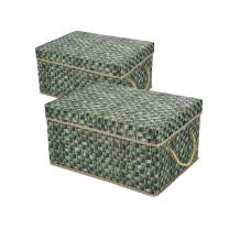 Livememory Decorative Storage Boxes Foldable Fabric Storage Bins with Lids and Handles for Office, Bedroom, Closet- Printed Wicker Pattern (Not Real Wicker Basket), 2 Pack