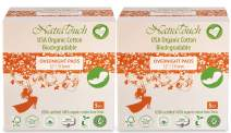 NATRATOUCH ~ COMPOSTABLE ~ Certified Organic Cotton Overnight Pads (2 Pack Total 10 Pads)