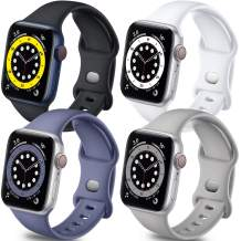 Getino Sport Band Compatible with Apple Watch 42mm 44mm for Women Men, Stylish Durable Soft Silicone Bands for iWatch SE & Series 6 5 4 3 2 1, 4 Pack, Black, White, Pebble Gray,Blue Gray, S/M