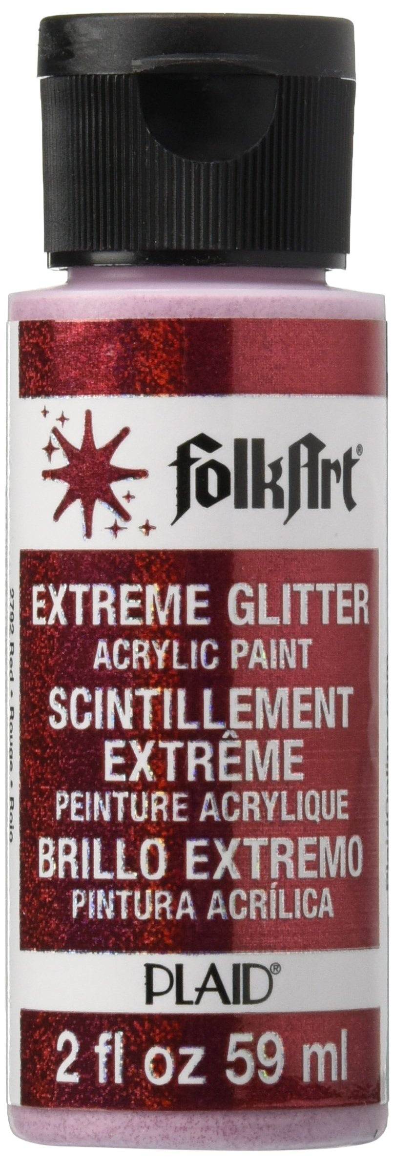 FolkArt Extreme Glitter Acrylic Paint in Assorted Colors (2 oz), 2792, Red