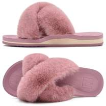 KUAILU Womens Fuzzy Slides Fluffy Faux Fur House Slippers Open Toe Yoga Mat Cross Sliders Hard Rubber Sole Sandals with Arch Support