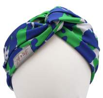 Twist Front Turban Headband With Wire (Green Blue Camo)