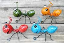 GIFTME 5 Metal Ant Wall Decor Set of 4 Colorful Indoor Bathroom Kid's Room or Outdoor Garden Yard Art Wall Sculptures