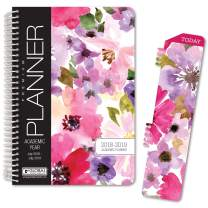 "HARDCOVER Academic Year Planner 2018-2019 - 5.5""x8"" Daily Planner/Weekly Planner/Monthly Planner/Yearly Agenda. Bonus Bookmark (Spring Floral)"