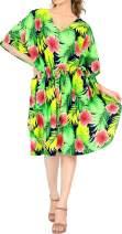 LA LEELA Women's Midi Caftan Dress Kaftan Cover Up Sleepwear Tops Drawstring