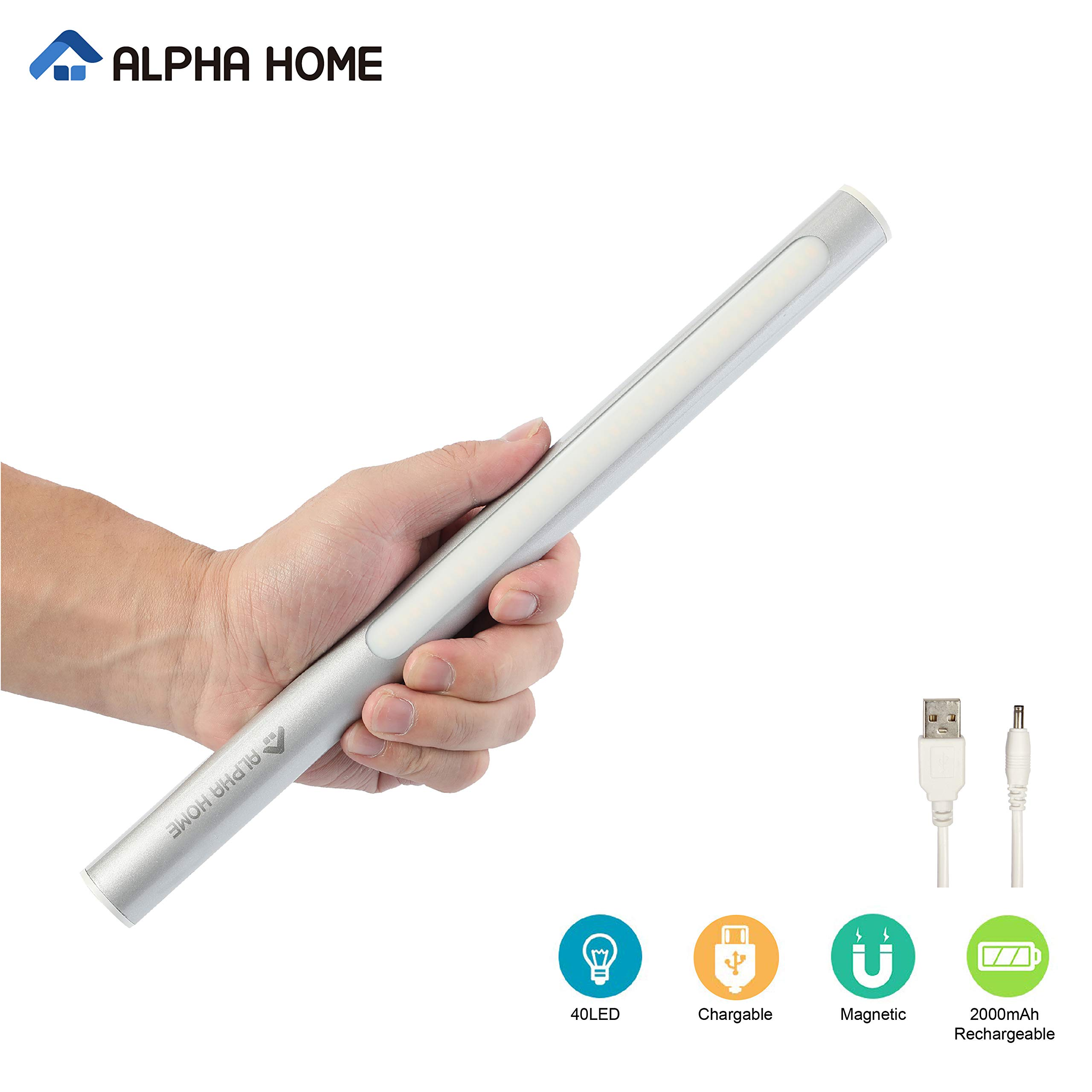 ALPHA HOME 40 LED Sport Light, Portable USB Rechargeable Cupboard Closet Light, Stick on Anywhere Magnetic LED Night Light, Silver