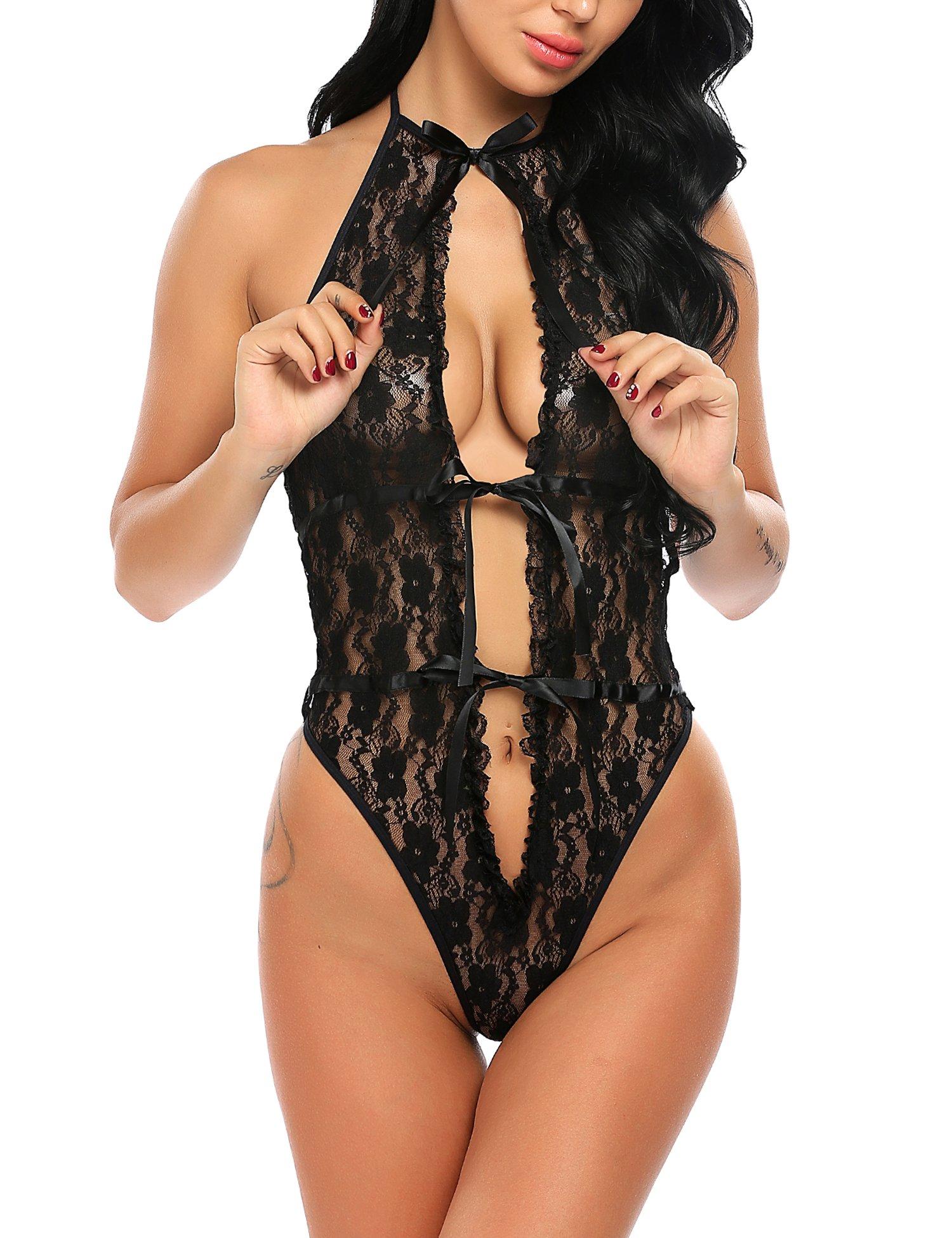 Women Sexy Lingerie Teddy One Piece Chemises Lace Halter Babydoll Bodysuit