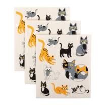 DII Swedish Dishcloths 100% Natural Cellulose, Environmentally Friendly Reusable Kitchen Cleaning Cloth, Machine Washable, Dishwasher and Microwave Safe, 7.75x6.75, Cats Everywhere 3 Piece
