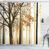 """Ambesonne Autumn Shower Curtain, Picture of a Lonely Tree with Orange Leaves on an Abstract Woodland Background, Cloth Fabric Bathroom Decor Set with Hooks, 70"""" Long, Brown Beige"""