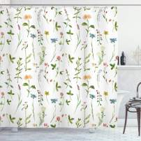 """Ambesonne Floral Shower Curtain, Spring Season Themed Watercolors Painting of Herbs Flowers Botanical Garden Artwork, Cloth Fabric Bathroom Decor Set with Hooks, 75"""" Long, Ivory"""