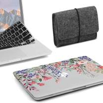 GMYLE MacBook Pro 15 inch Case 2018 2017 2016 Release A1990/A1707, Plastic Hard Shell, Fabric Storage Bag Travel Pouch, Keyboard Cover Set Compatible Newest Mac Pro 15 Inch – Pink Plum Blossom Floral